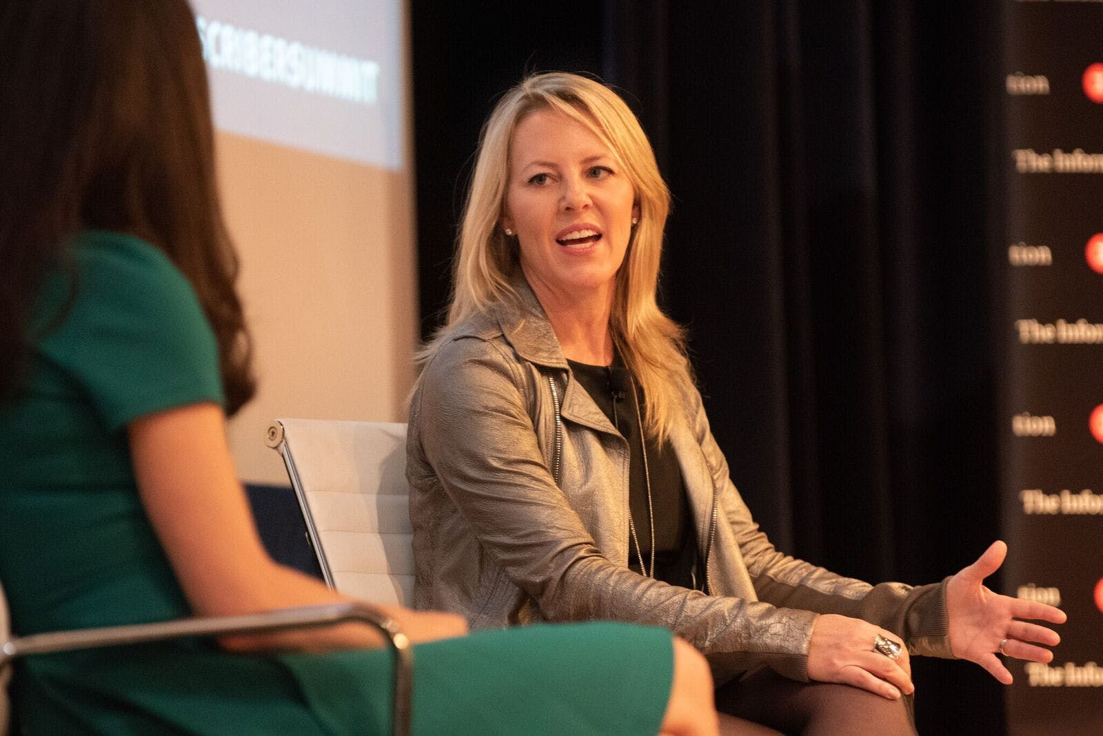 Andreessen Horowitz general partner Katie Haun, in conversation with The Information founder Jessica Lessin, at The Information Subscriber Summit in San Francisco.