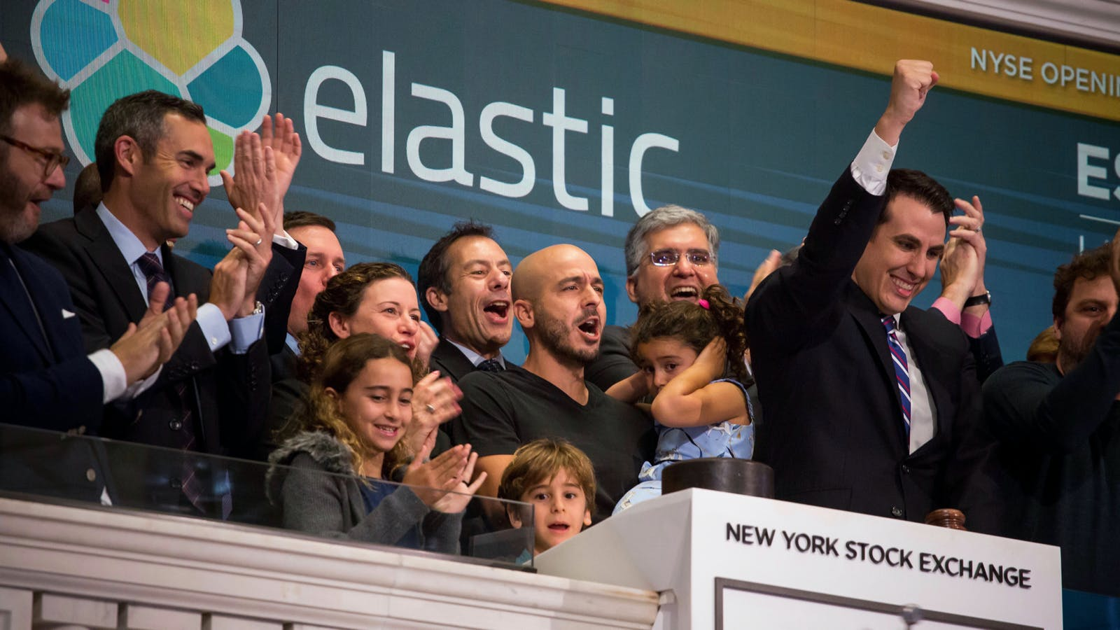 Elastic executives celebrate the company's initial public offering earlier this month. Photo by Bloomberg