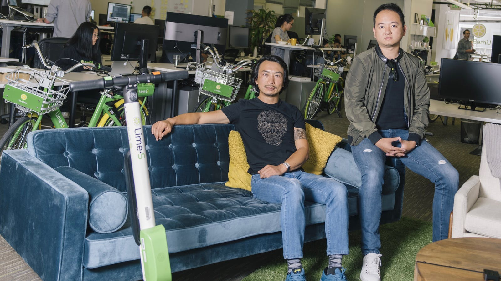 Lime co-founders Toby Sun and Brad Bao at the company's San Mateo headquarters earlier this year. Photo by Bloomberg.