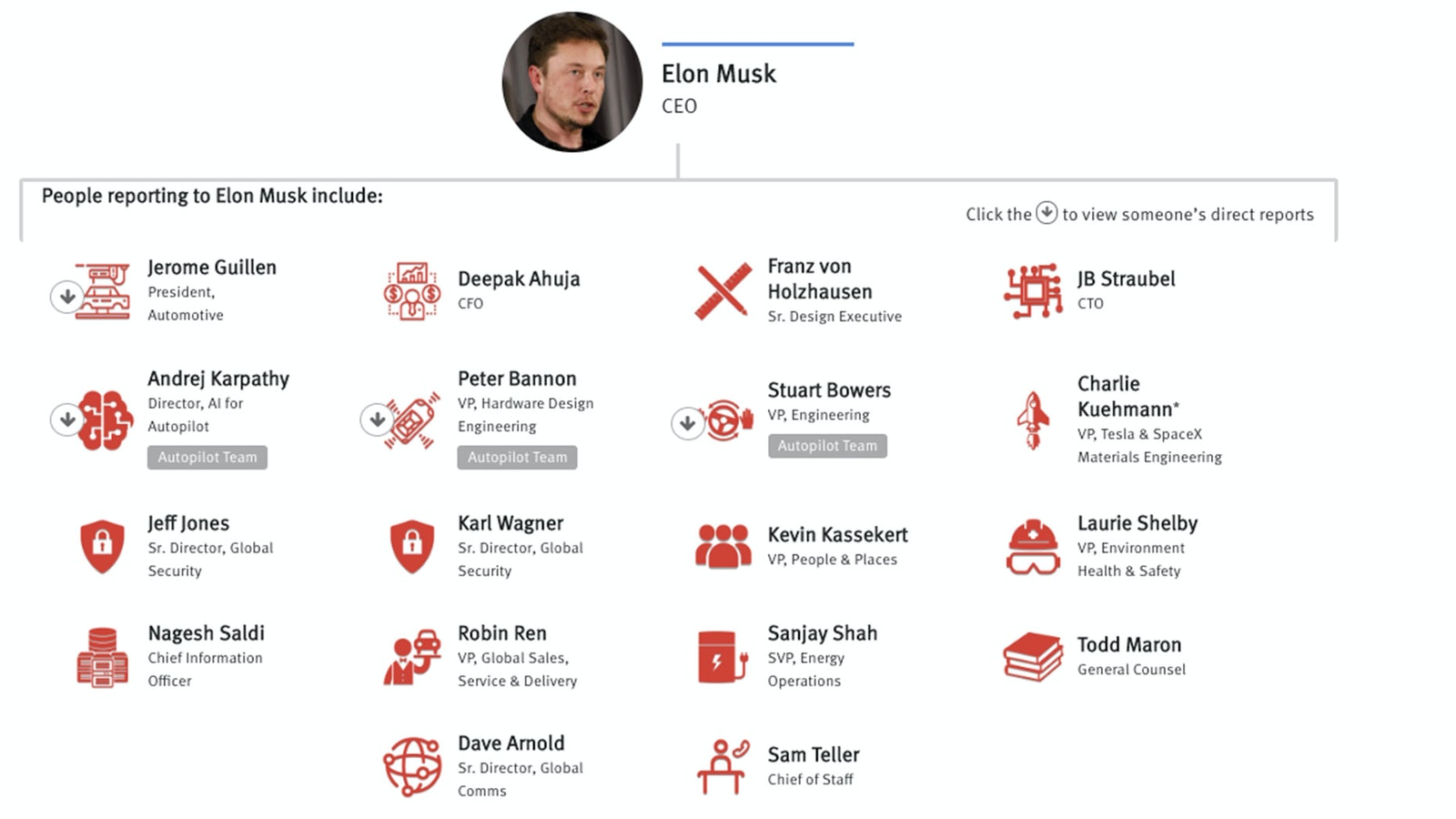 Sources: Tesla internal organizational chart; The Information reporting