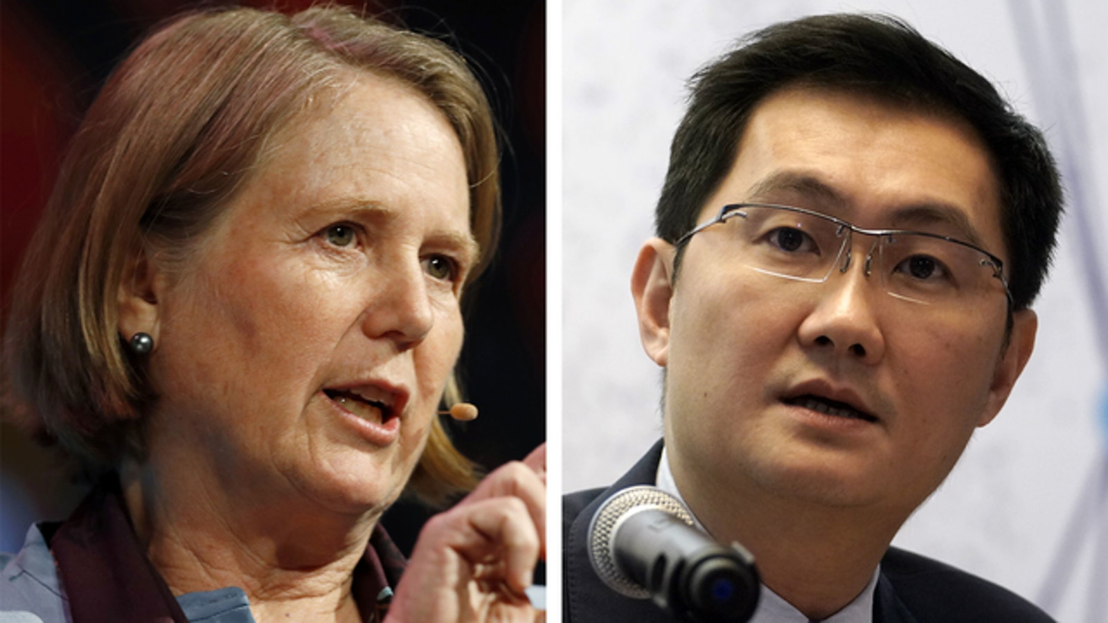 Google Cloud's outgoing CEO Diane Greene and Tencent CEO Pony Ma. Photos by Bloomberg.