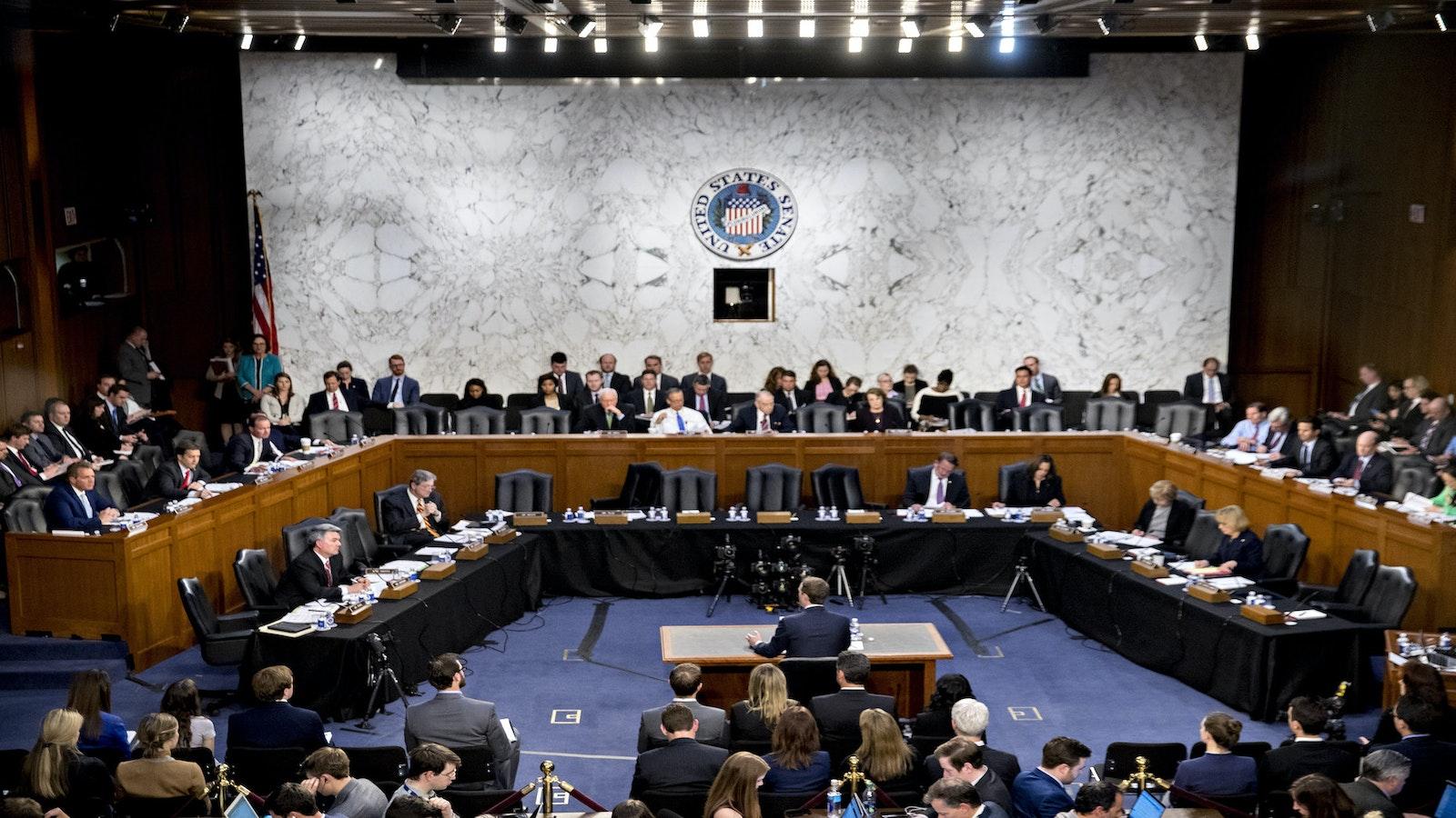 Facebook CEO Mark Zuckerberg testifies before Congress last April. Photo by Bloomberg.