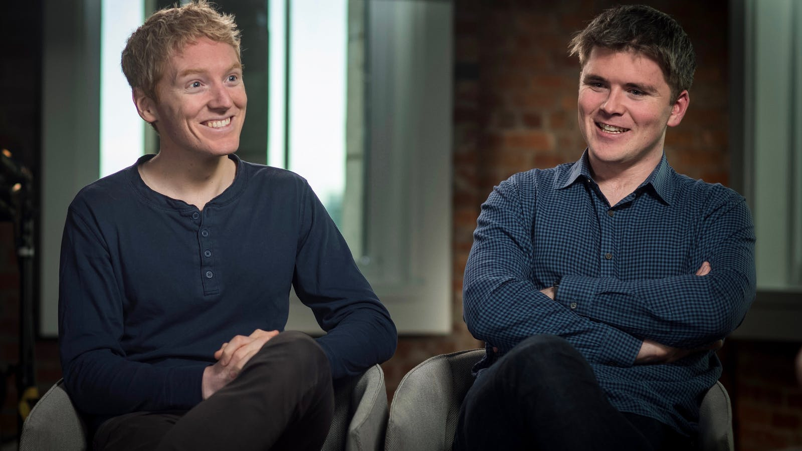 Stripe co-founders Patrick Collison and John Collison. Photo by Bloomberg.