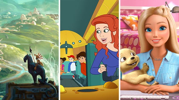 Scenes from Maya and the Three, Magic School Bus Rides Again, Barbie Dreamhouse Adventures.