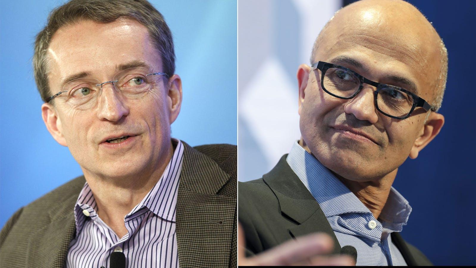 VMware's Pat Gelsinger, left, and Microsoft's Satya Nadella. Photos by Bloomberg.