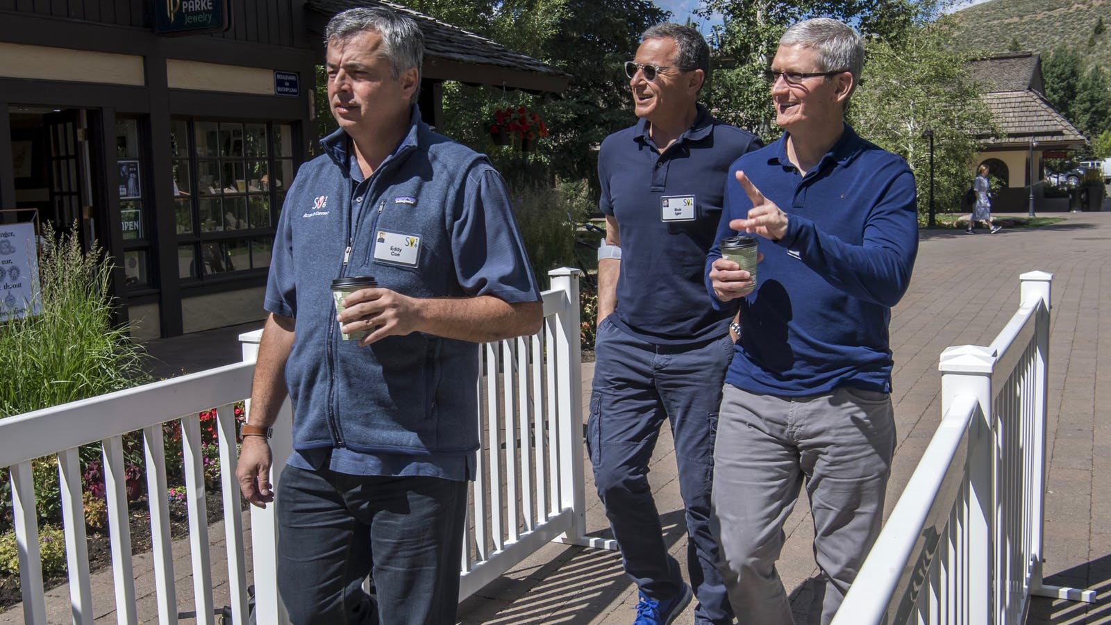 Apple's Eddy Cue, Disney CEO Bob Iger and Apple CEO Tim Cook at Sun Valley in Idaho. Photo by Bloomberg.