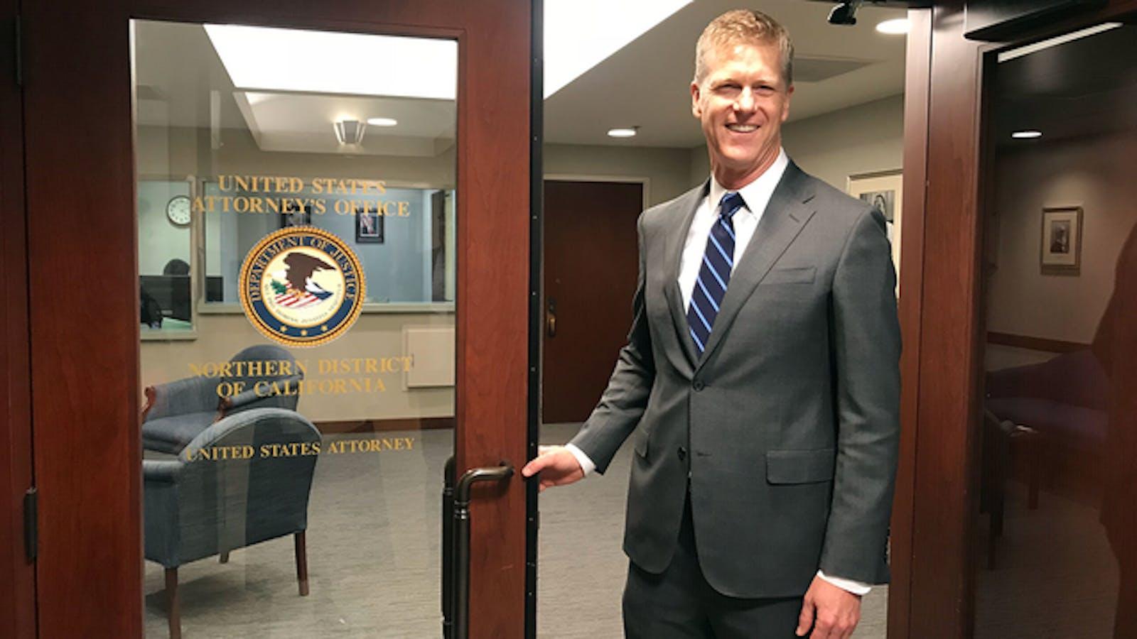New U.S. Attorney David Anderson is sworn in in January. Photo: San Francisco U.S. Attorney's Office