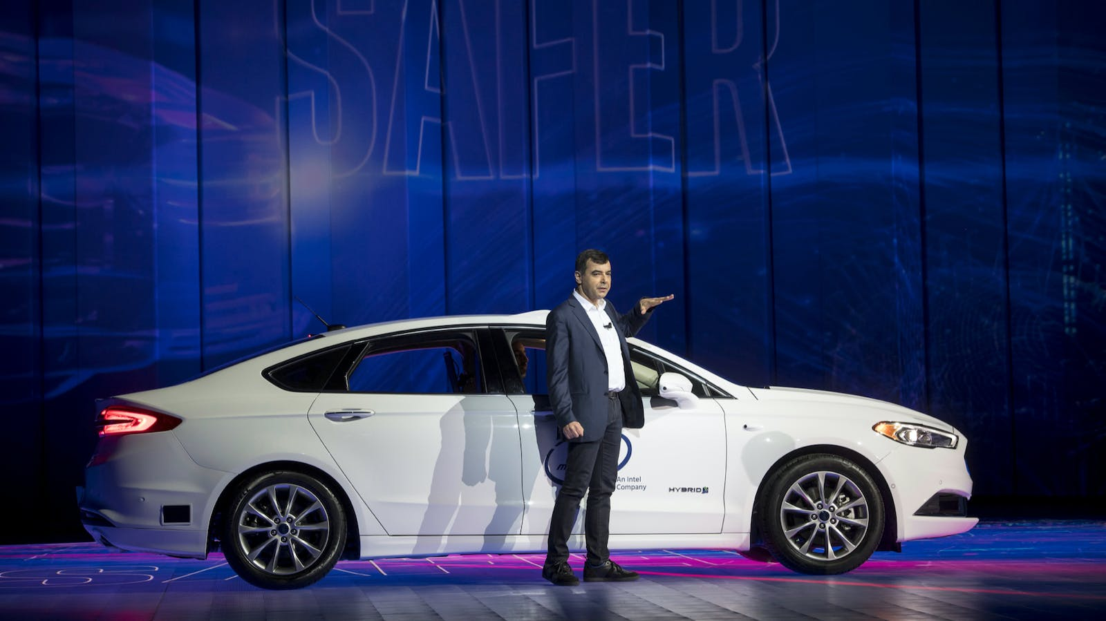 Amnon Shashua, co-founder and chief technology officer of Mobileye, speaks at a conference last year. Photo by Bloomberg