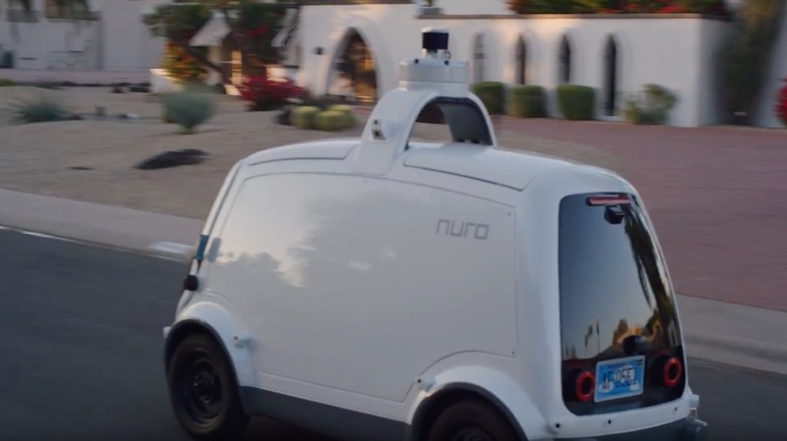 A Nuro self-driving delivery robot prototype in suburban Phoenix. Credit: Nuro
