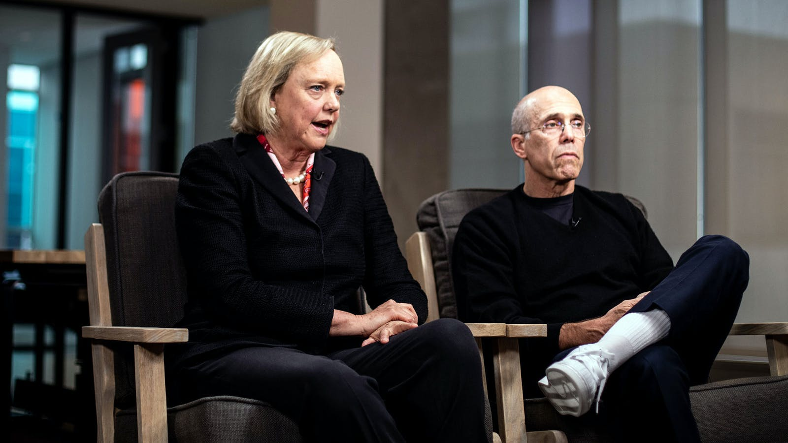 Meg Whitman and Jeffrey Katzenberg. Photo by Bloomberg.
