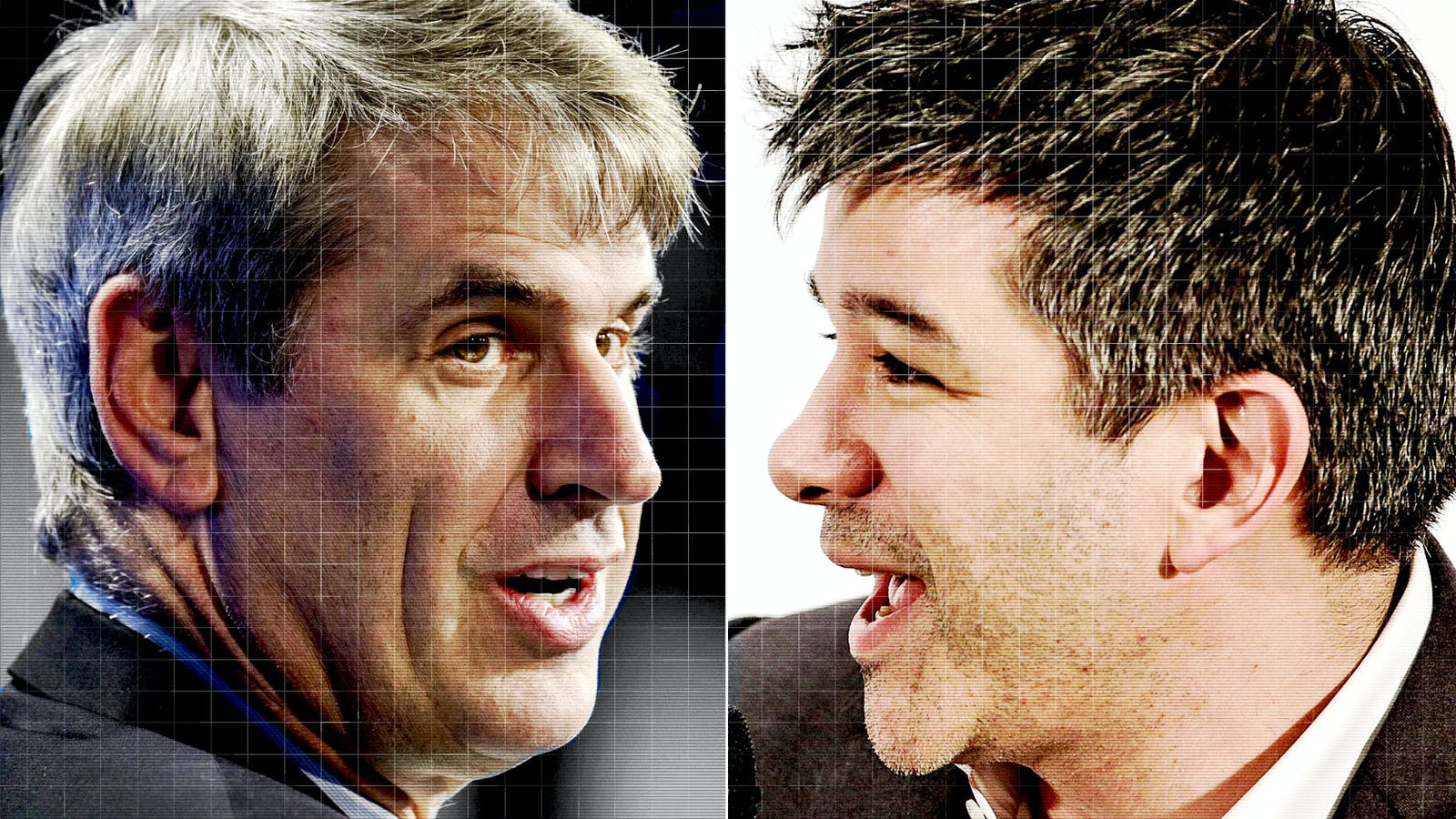 Bill Gurley and Travis Kalanick. Photos by Bloomberg