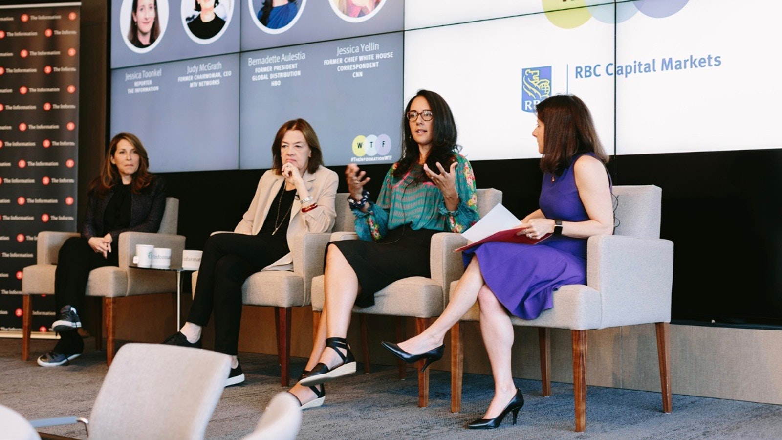 Jessica Yellin, Judy McGrath, Bernadette Aulestia and The Information's Jessica Toonkel at the Women in Tech, Media and Finance conference on Tuesday. Photo by Karen Obrist