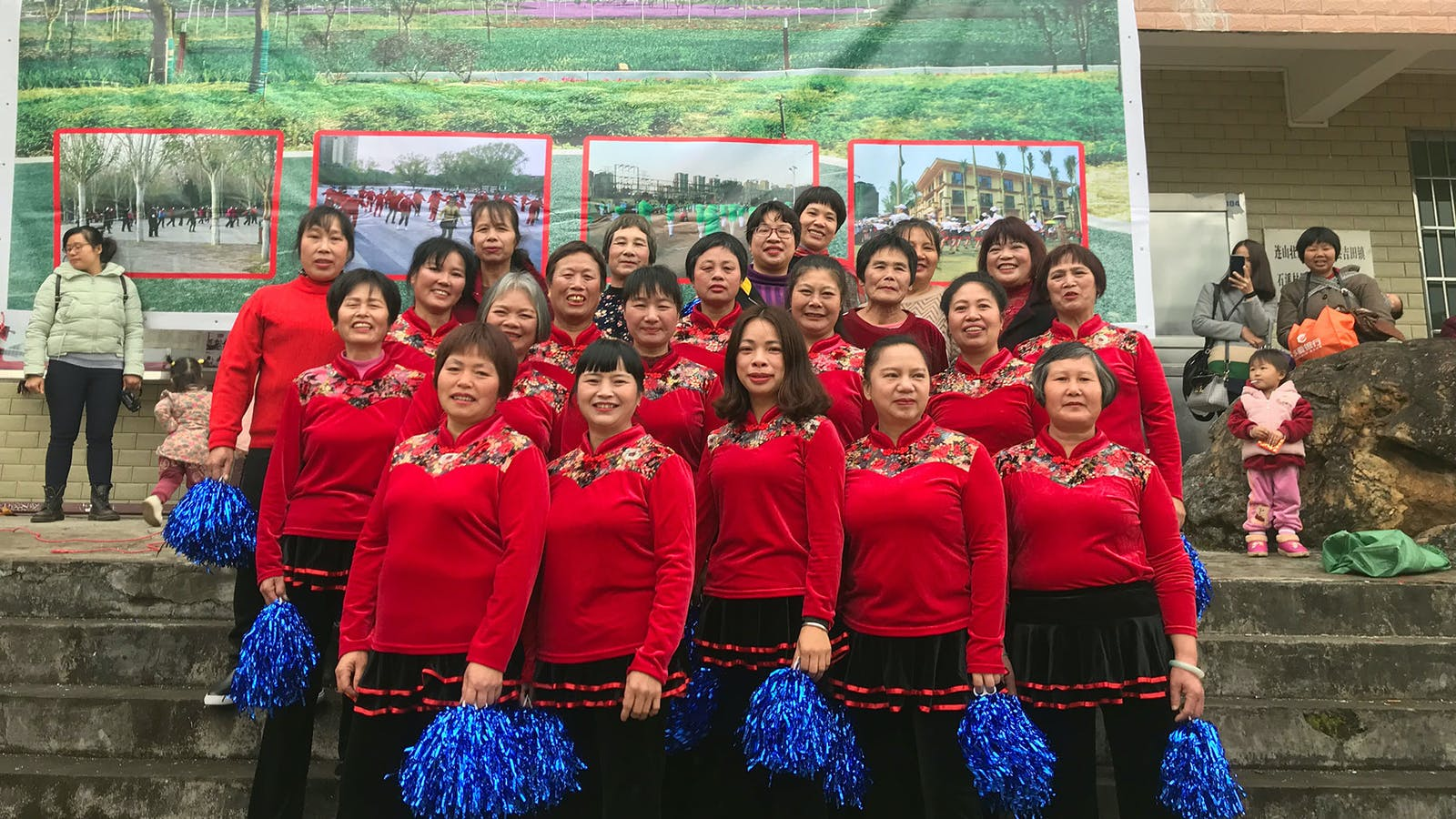 The Jitian village dance group, in matching outfits purchased on Pinduoduo, at the Lunar New Year gala.