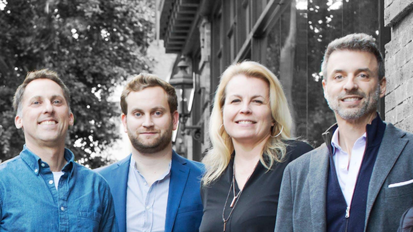 Jyve co-founders James Kairos, Sam Purtill, Cammy Bergren and Brad Oberwager. Photo: Jyve
