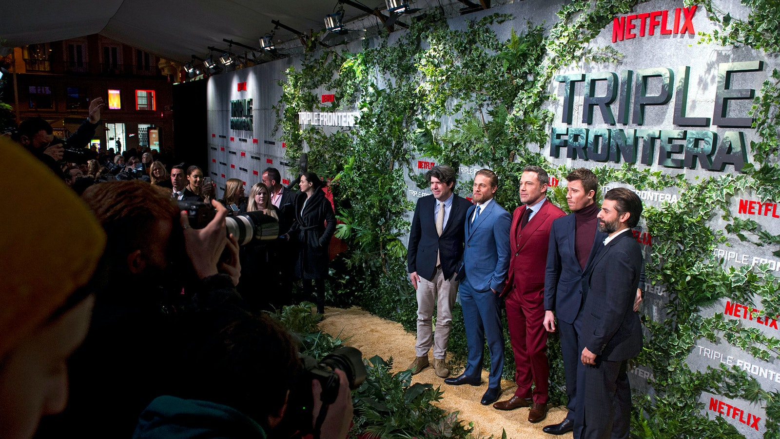 "The stars of Netflix's ""Triple Frontier"" movie at a premiere screening in Madrid. Photo by AP"