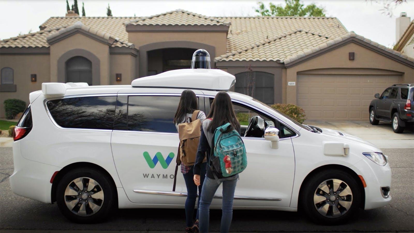 A Waymo self-driving vehicle. Still photo from a Waymo video