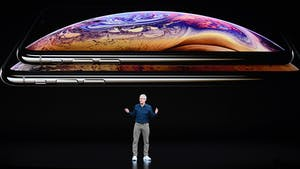Tim Cook speaks at an Apple event in September, 2018. Photo by Bloomberg.