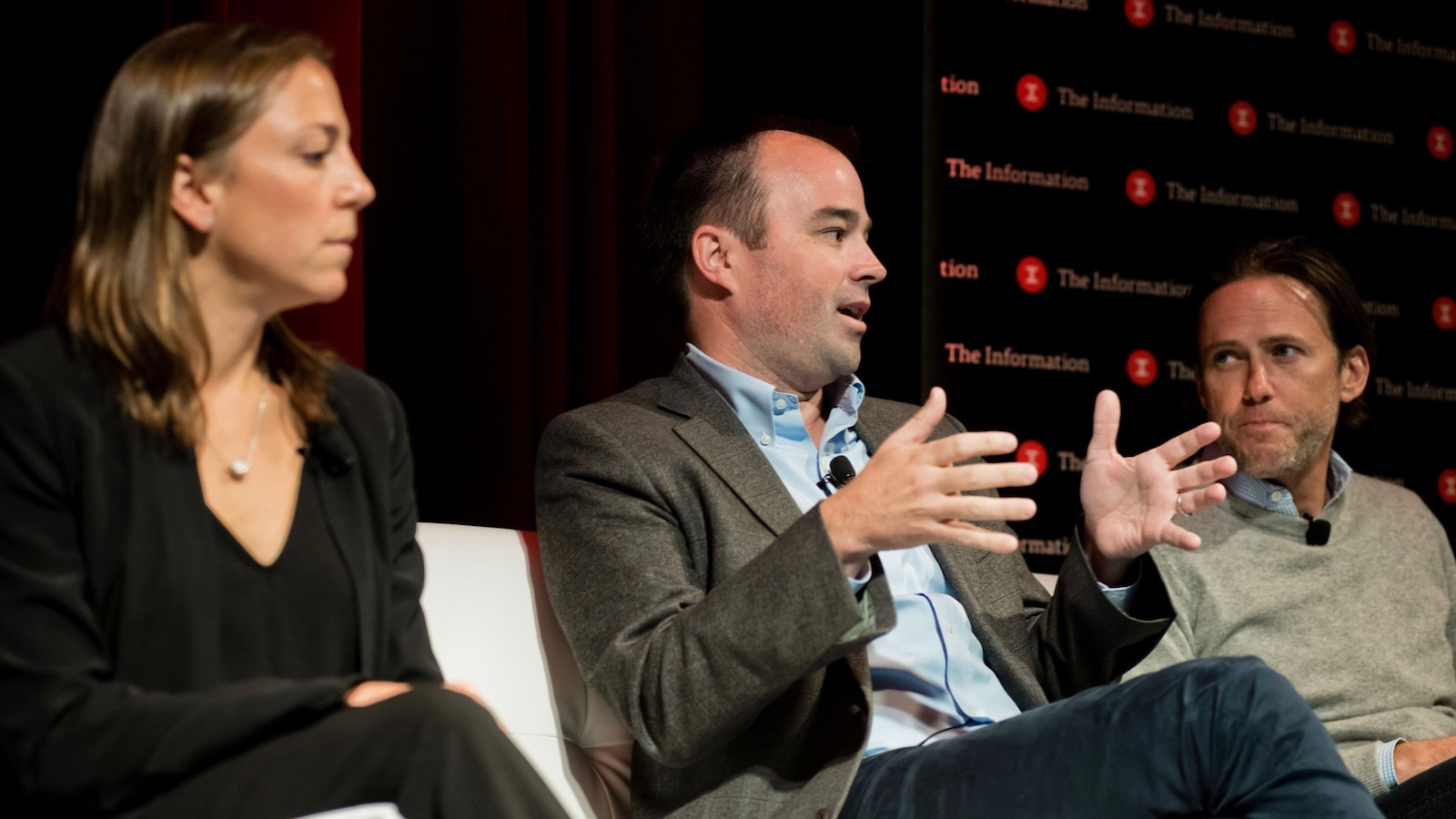 Lauren Cummings, Will Connolly and Scott Stanford appear on a panel at The Information's Subscriber Summit. Photo by Angie Silvy.