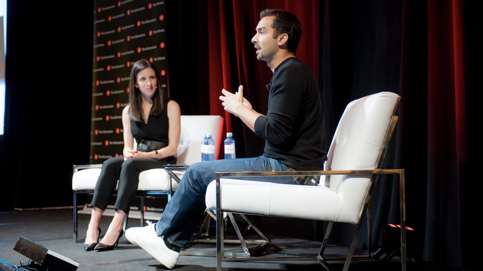 Instacart CEO Apoorva Mehta with The Information's Jessica Lessin at The Information's Subscriber Summit on Thursday. Photo by Angie Silvy