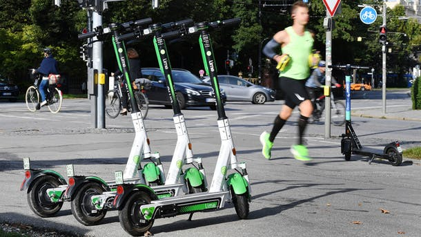 Lime scooters in Munich, Germany. Photo: AP