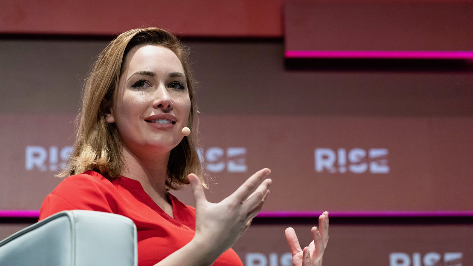 Carbon Robotics co-founder and CEO Rosanna Myers at a conference in Hong Kong last year. Photo by Bloomberg.