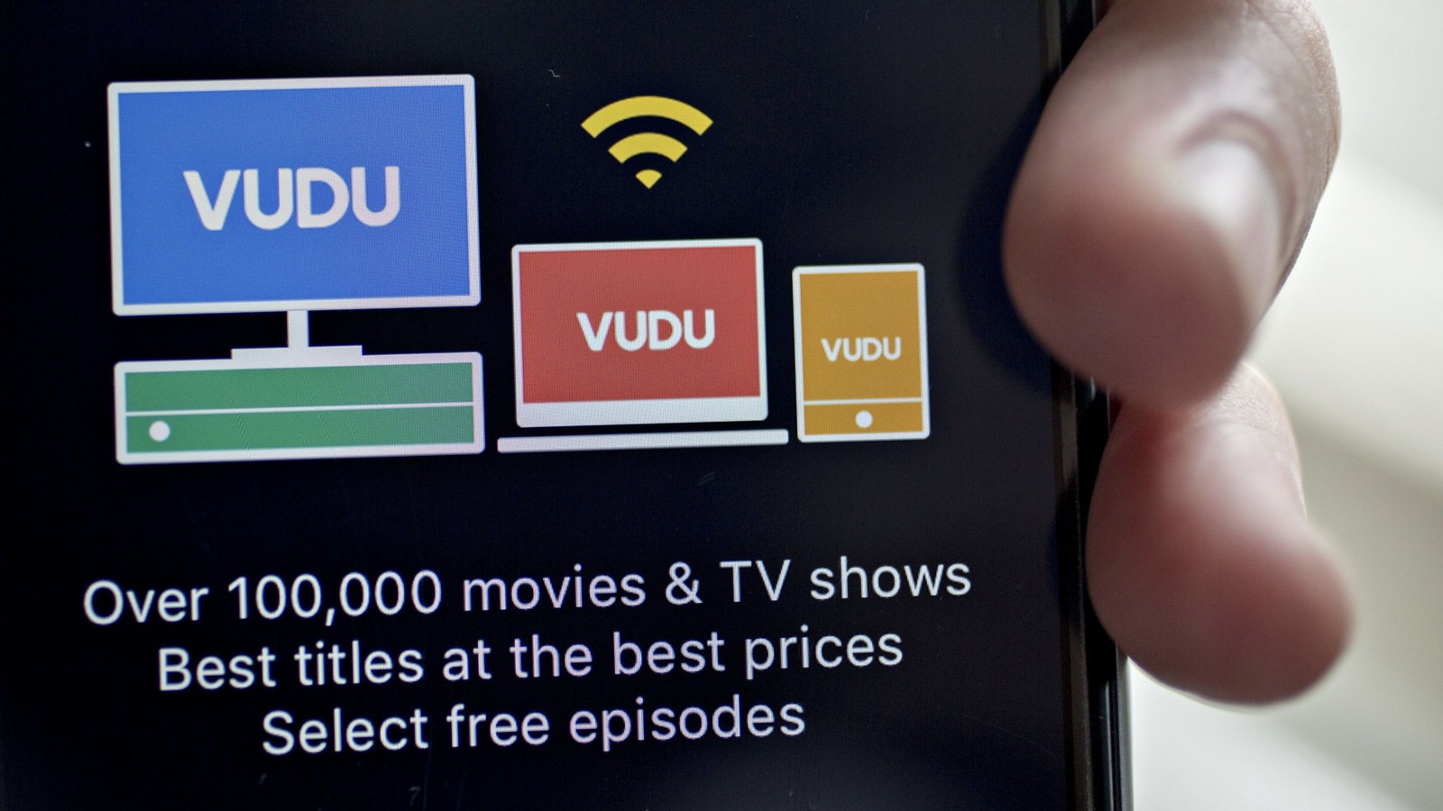 Vudu's app on an iPhone. Photo by Bloomberg