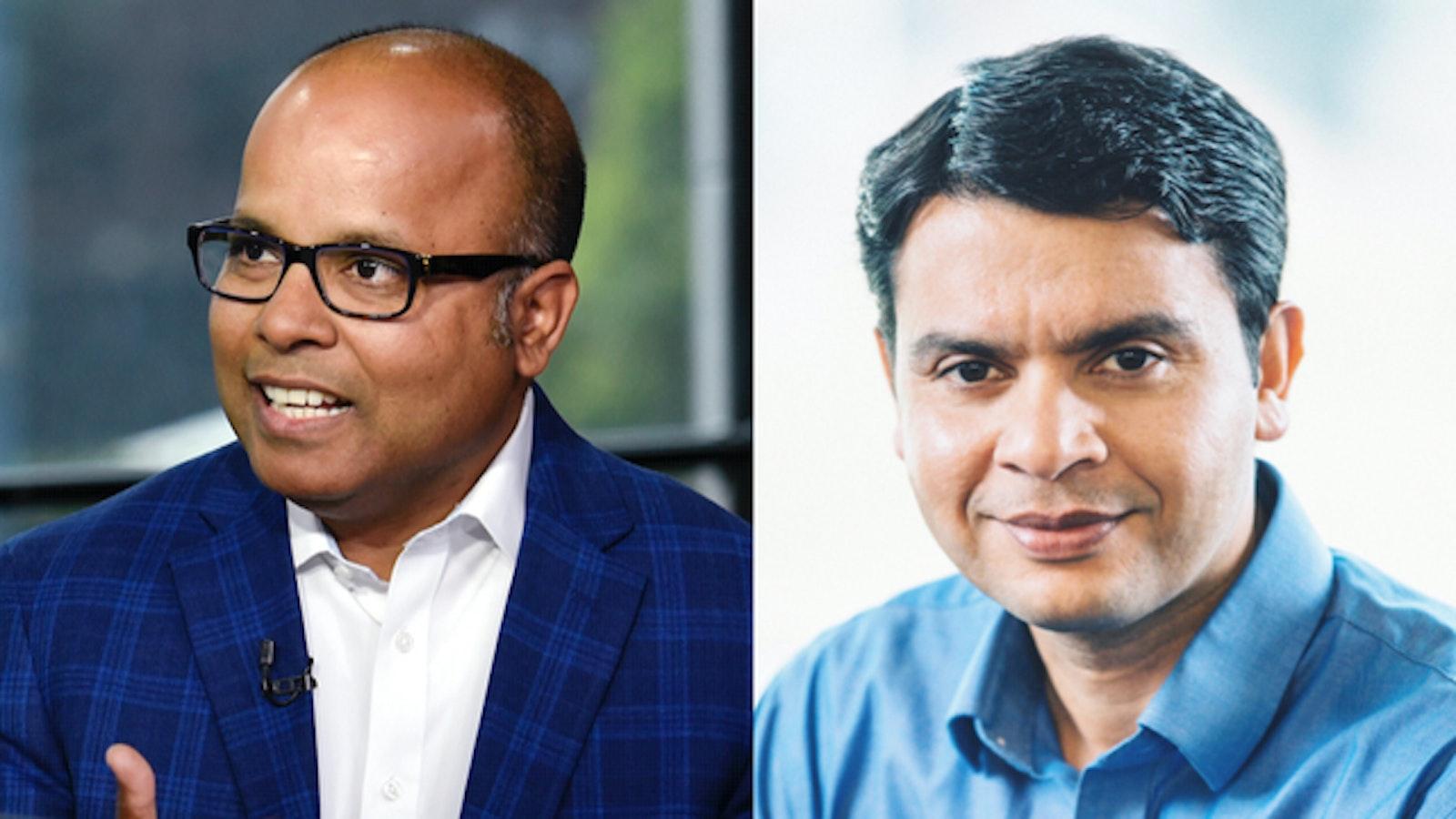 Rubrik CEO Bipul Sinha and Cohesity CEO Mohit Aron. Photos by Bloomberg (Sinha), Cohesity (Aron)