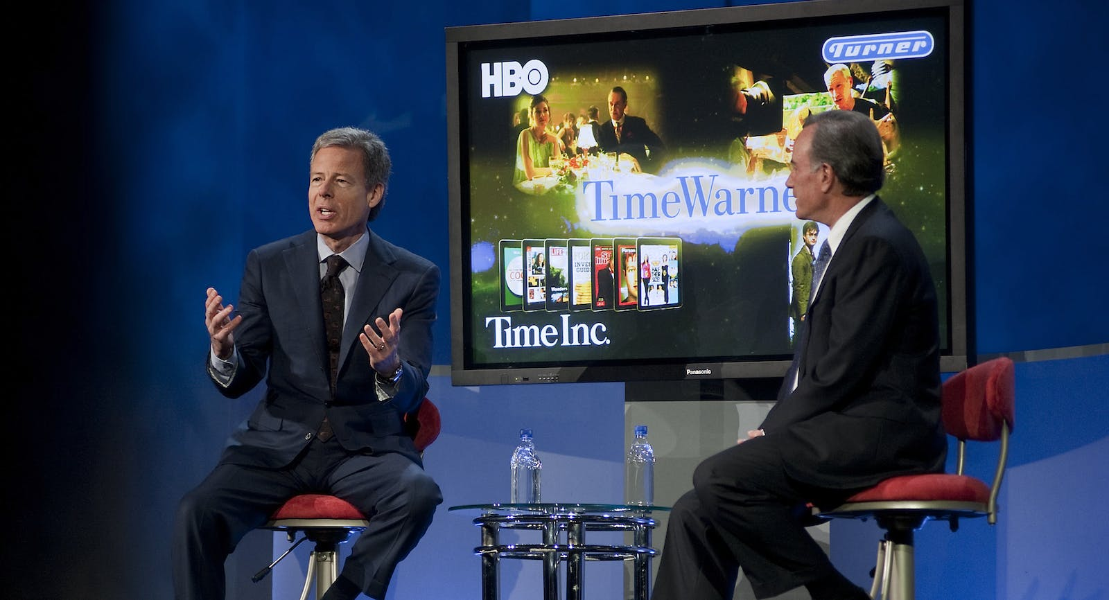 Time Warner CEO Jeff Bewkes, left, at the Consumer Electronics Show. Photo by Bloomberg.