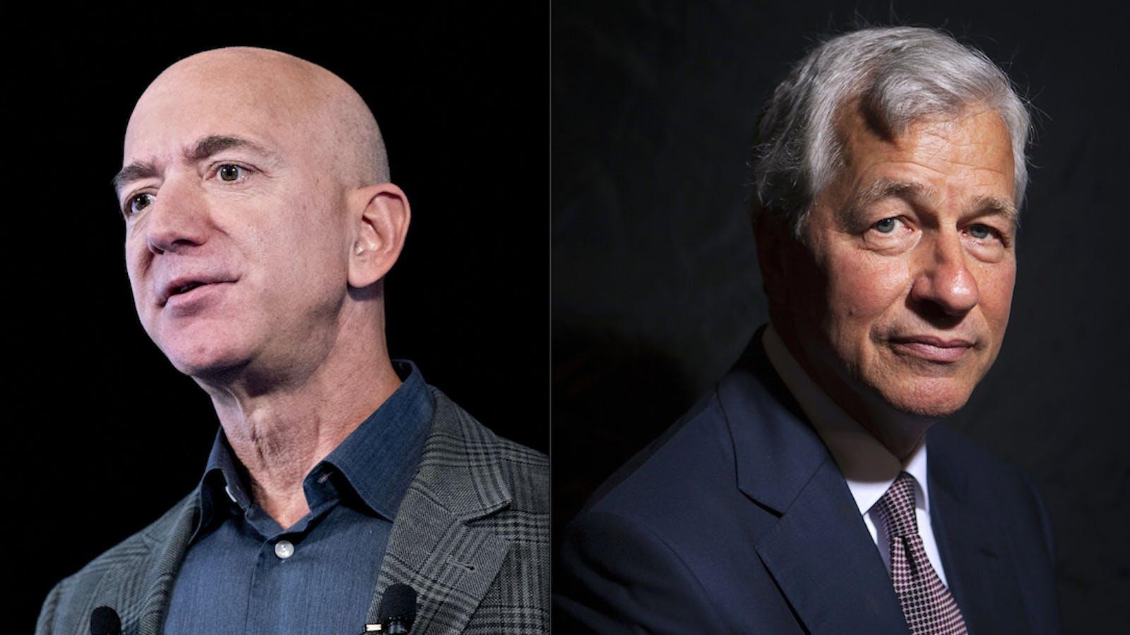 Amazon CEO Jeff Bezos and JPMorgan Chase CEO Jamie Dimon. Photos by Bloomberg