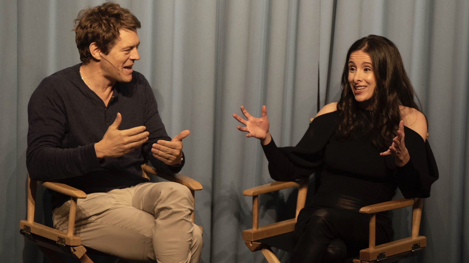 Hollywood producer Jason Blum with The Information's Jessica Lessin on Tuesday night. Photo by Erin Beach.