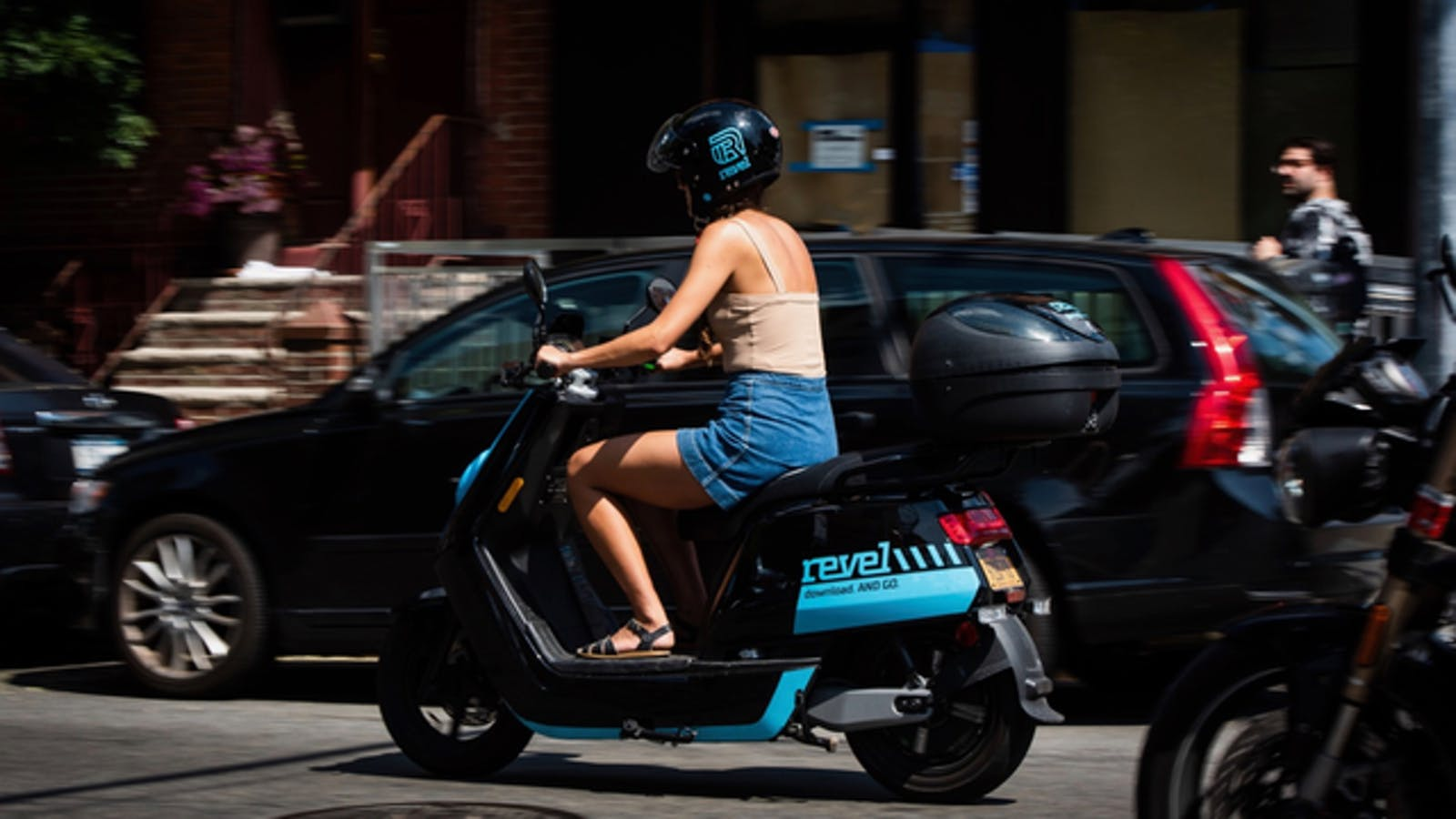 A Revel moped being ridden in Brooklyn, N.Y., last year. Photo: Bloomberg
