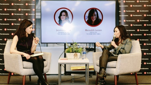 The Information's editor in chief Jessica Lessin talking with the New York Times'  COO Meredith Levien at an event in New York in 2018. Photo by Karen Obrist