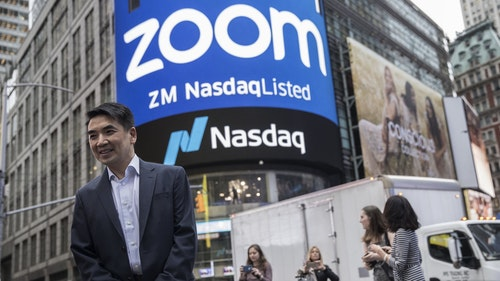 Zoom Video CEO Eric Yuan on the day Zoom went public on the Nasdaq market last April. Photo by Bloomberg