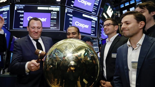 Casper CEO Philip Krim ringing a ceremonial bell  at the New York Stock Exchange the day Casper went public. Photo by AP