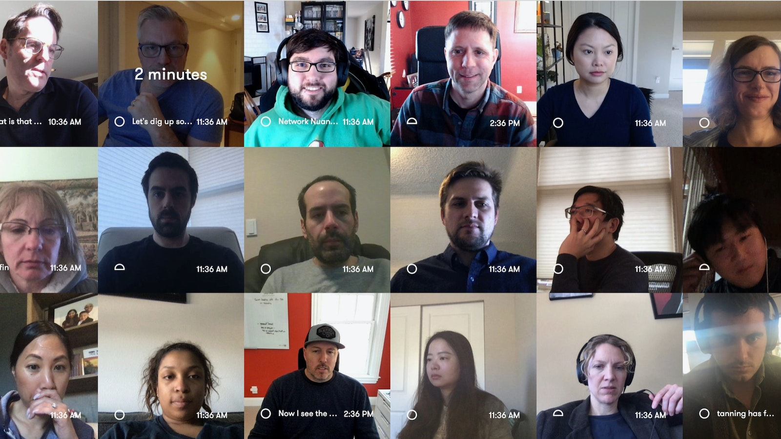 Employees of SoundCommerce in Sneek, a video chat app. Screenshot provided by SoundCommerce