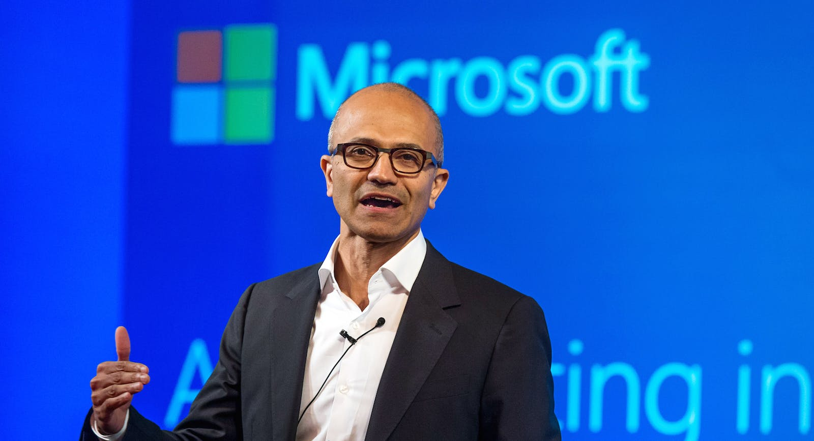 Microsoft CEO Satya Nadella discussing Azure last month. Photo by Bloomberg.