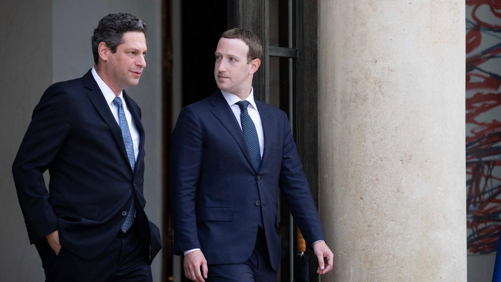 Facebook policy chief Joel Kaplan and CEO Mark Zuckerberg in 2018. Photo: Bloomberg
