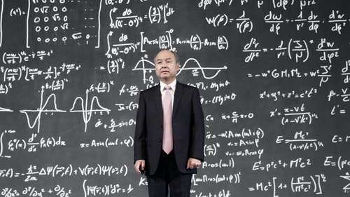 Masayoshi Son. Photo by Bloomberg. Illustration by Mike Sullivan