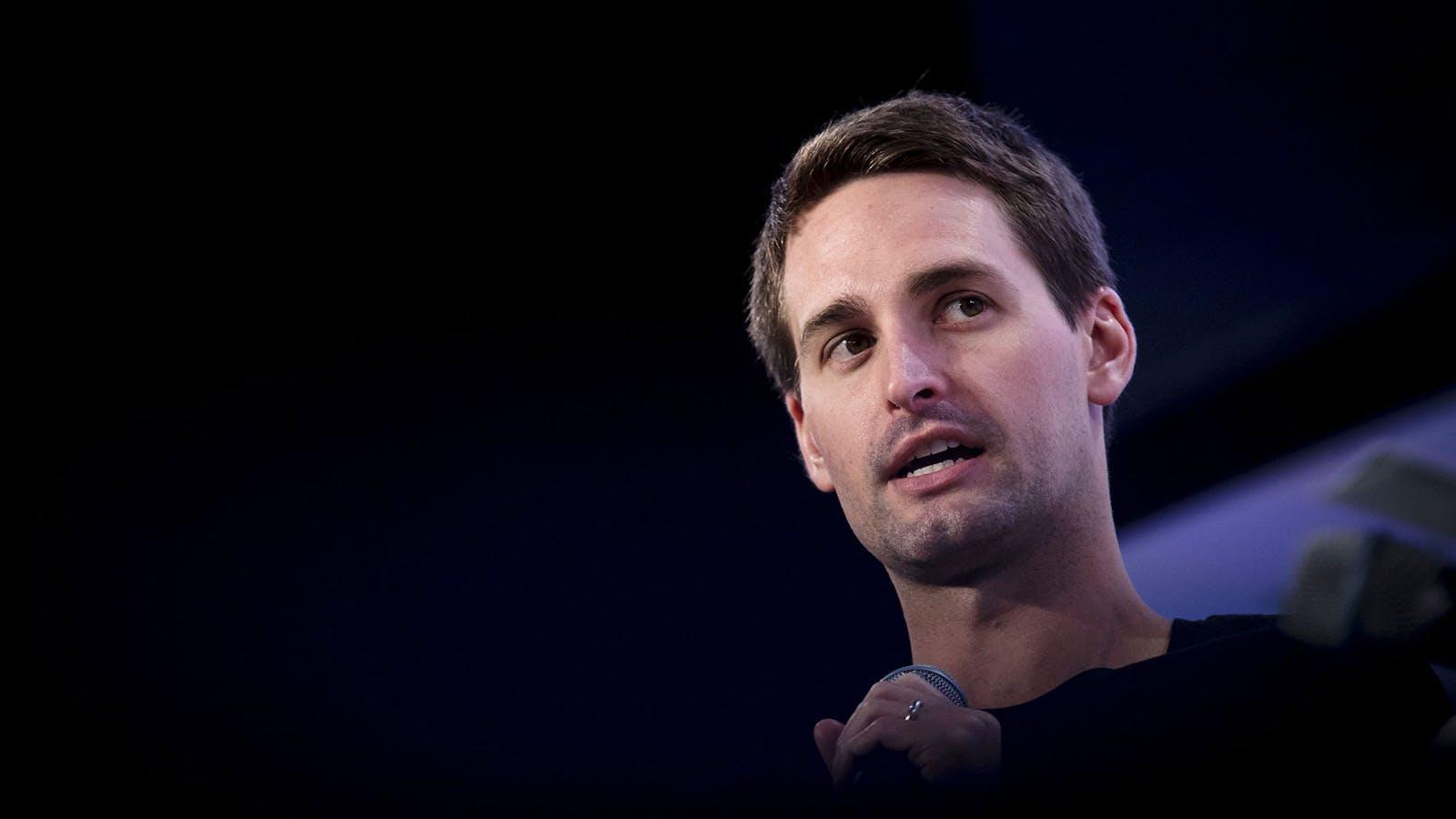 Evan Spiegel, CEO of Snap Inc., speaks in San Francisco in October. Photo by Bloomberg