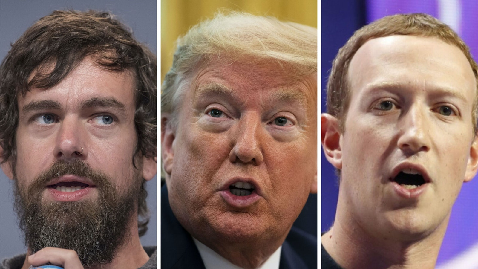 Twitter's Jack Dorsey, President Trump and Facebook's Mark Zuckerberg. Photos by Bloomberg