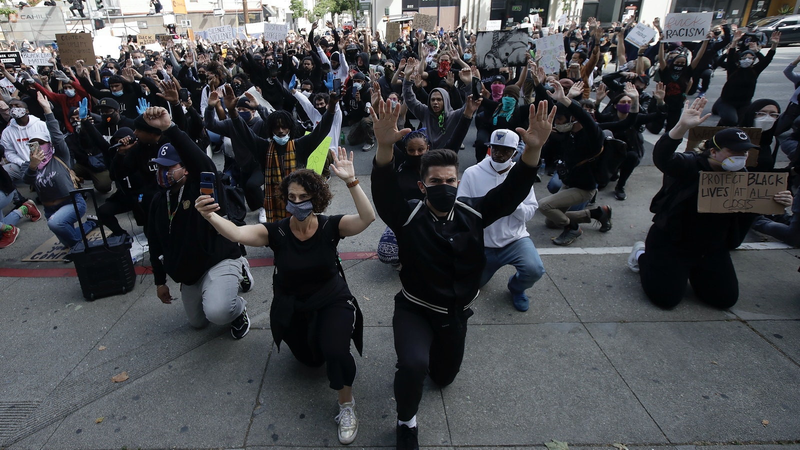 Protesters in San Francisco over the weekend. Photo by AP