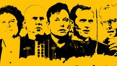 From left: Peter Beck, Bob Smith, Elon Musk, George Whitesides and Will Marshall. Photos by Bloomberg. Illustration by Mike Sullivan