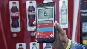 Google's digital wallet displayed on a smartphone screen. Photo by Bloomberg.