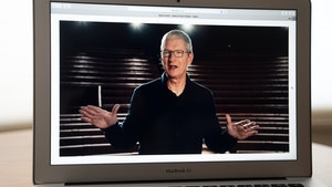 Apple CEO Tim Cook speaking at the company's online Worldwide Developer Conference in June. Photo by Bloomberg