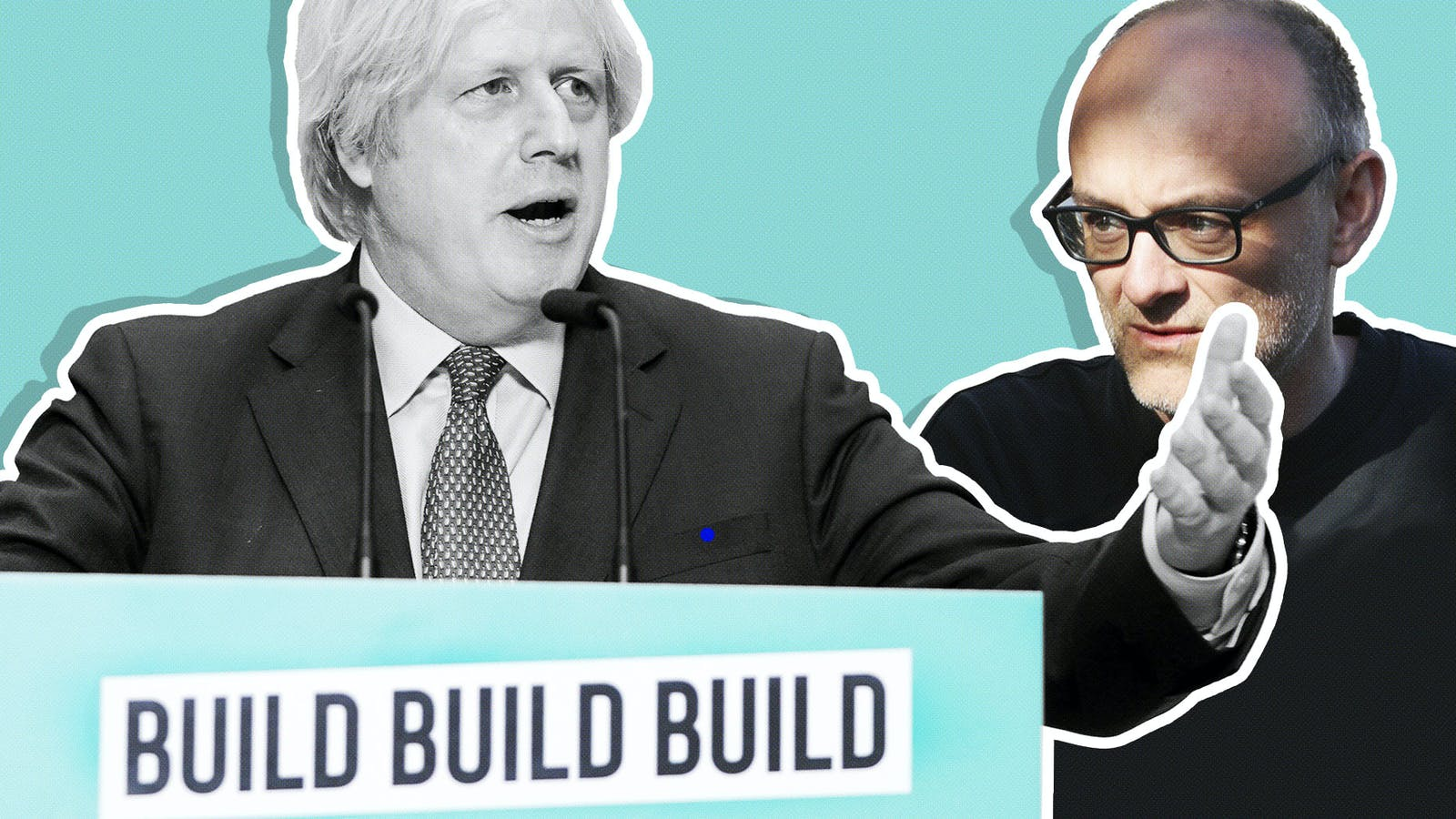 Boris Johnson (left) and Dominic Cummings. Photo of Johnson by Andrew Parsons/Flickr; photo of Cummings by Bloomberg