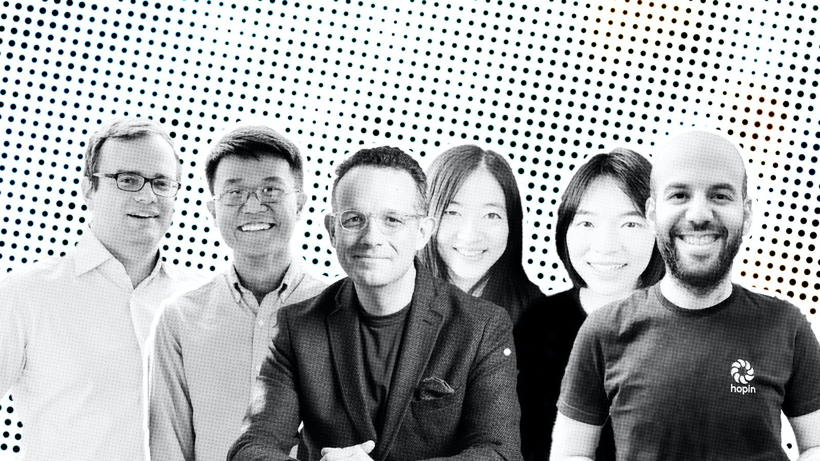 From left to right: Lunchclub founders Vladimir Novakovski and Scott Wu; Mmhmm founder Phil Libin; Run The World founders Xiaoyin Qu and Xuan Jiang; Hopin founder Johnny Boufarhat. Photos courtesy of the companies.