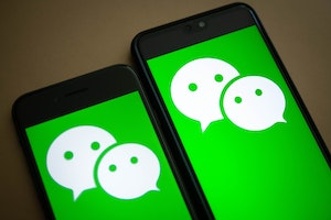 The logo for Tencent's popular WeChat app. Photo: Bloomberg