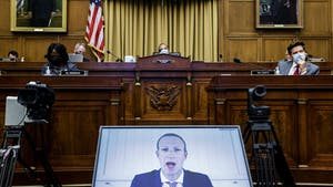 Facebook's Mark Zuckerberg testifying remotely at a House Judiciary Subcommittee hearing in July. Photo by Bloomberg