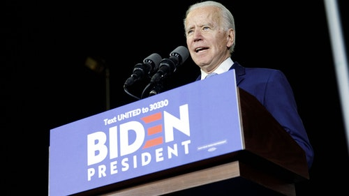 Joe Biden speaking at a primary night rally in Los Angeles on March 3, 2020. Photo: Bloomberg