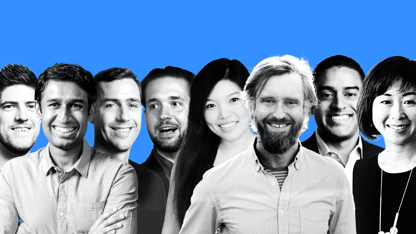From left to right: Ryan Sarver, Nikhil Basu Trivedi, Phin Barnes, Alexis Ohanian, Li Jin, Andrew Parker, Ajay Vashee and Cat Lee. Photos:  Redpoint Ventures, Shasta Ventures, First Round Capital, Initialized Capital, Dropbox, Maveron.